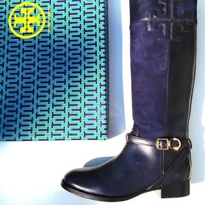 Tory Burch Lizzie Leather-Suede Riding Boot